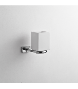 Bathroom wall mounted ceramic tumbler holder Naxos