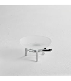 Frosted glass standing soap dish holder Syros