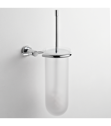 Frosted glass wall-mounted toilet brush holder Paros