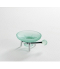 Frosted glass standing soap dish holder Tau