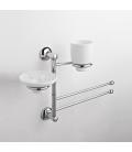 Wall-mounted washbasin stand Ceramic soap dish holder and tumbler Zacinto