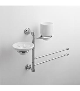 Wall-mounted washbasin stand Ceramic soap dish holder and tumbler Rho