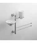 Wall-mounted washbasin stand Ceramic soap dish holder and tumbler Rho