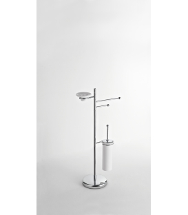 Toilet/bidet stand Frosted glass toilet brush and soap dish holder Creta 12602