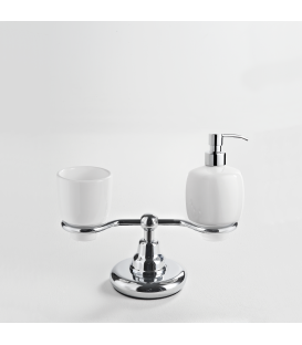 Ceramic standing soap dispenser and tumbler holder Omega