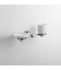 Ceramic standing soap dispenser and tumbler holder Omega