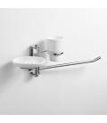 Towel holder, ceramic soap dish and tumbler holder Obra